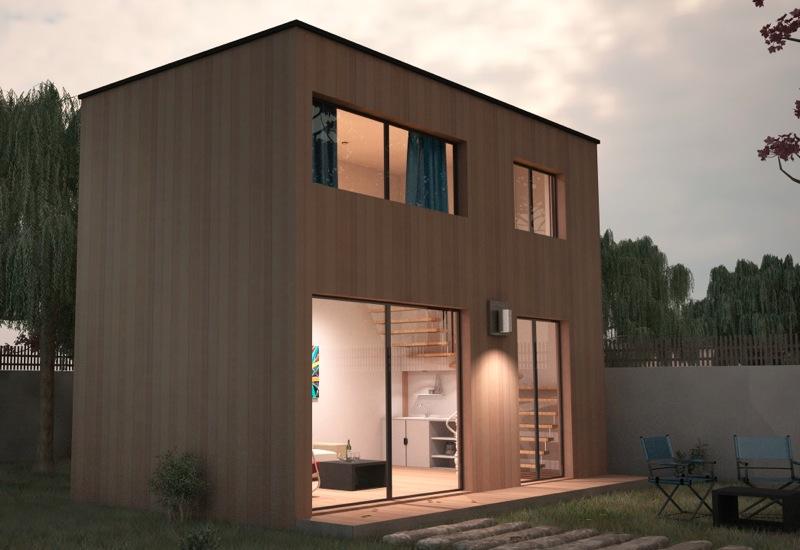 Extensiion de maison avec tage en ossature bois for Ajouter un etage a sa maison