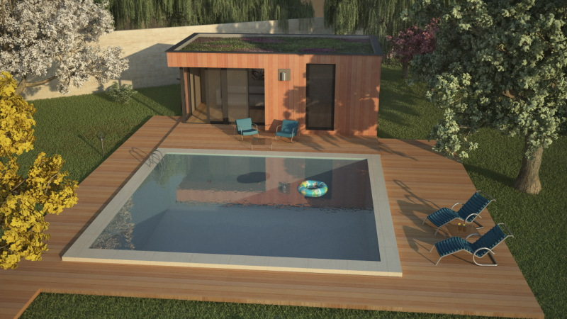 Pool house contemporain for Construction pool house piscine
