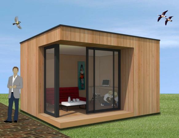 bureau de jardin toit plat. Black Bedroom Furniture Sets. Home Design Ideas