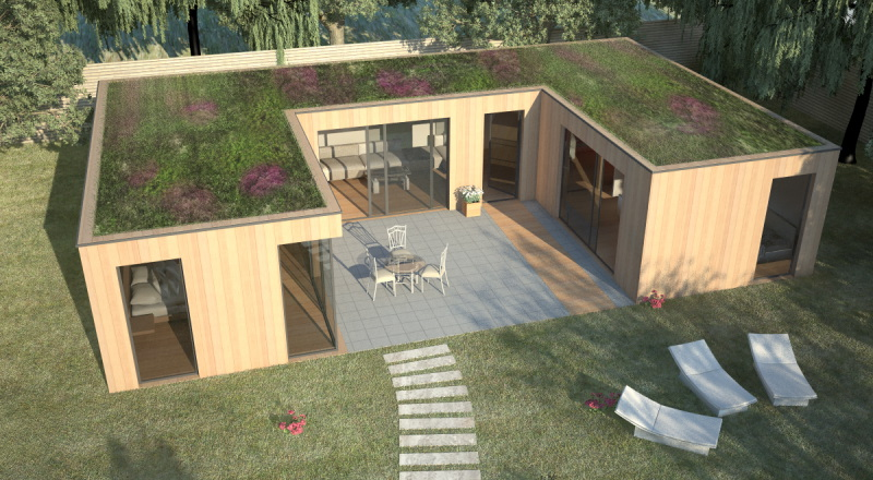 Maison en bois bioclimatique contemporaine de qualit for Permis de construire veranda 20 m2