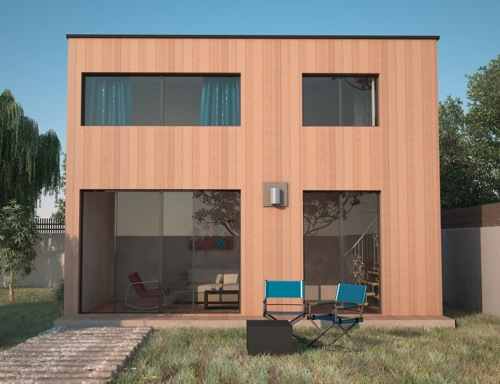 Studio de jardin en bois for Extension maison bois etage