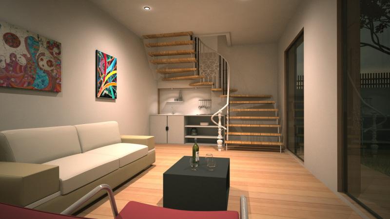 extensiion de maison avec tage en ossature bois. Black Bedroom Furniture Sets. Home Design Ideas