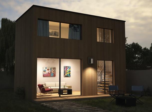 hauteur maison 1 etage avantage maison tage maison bois avec patio central et tage agrandir. Black Bedroom Furniture Sets. Home Design Ideas