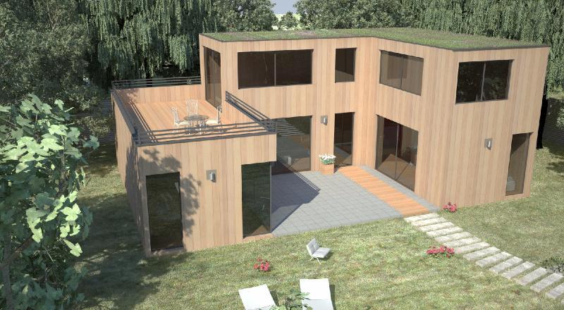Maison en bois toit plat 17 best ideas about maison bois - Maison ossature bois haut de gamme ...