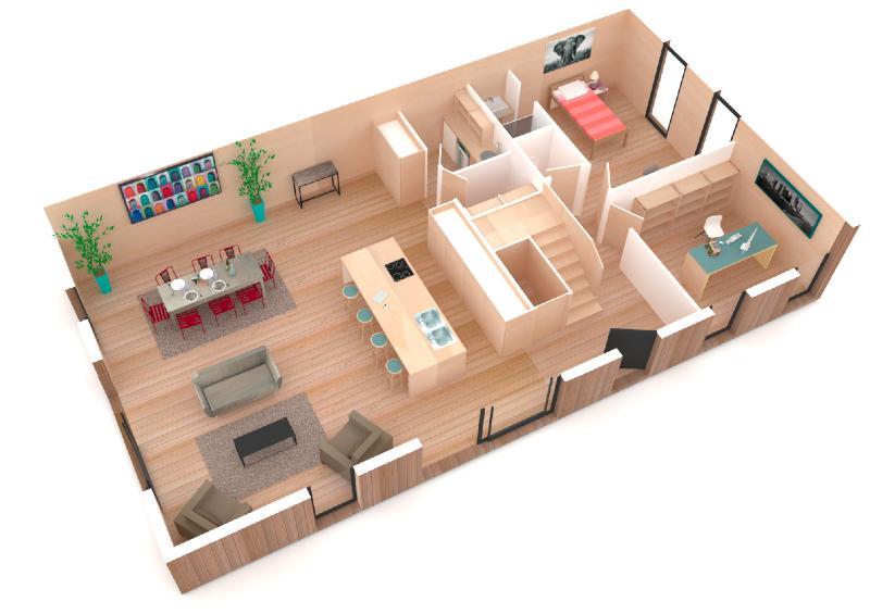 construction de maison bioclimatique en bois. Black Bedroom Furniture Sets. Home Design Ideas