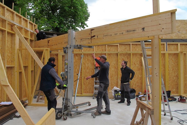 Extension en bois levage linteau