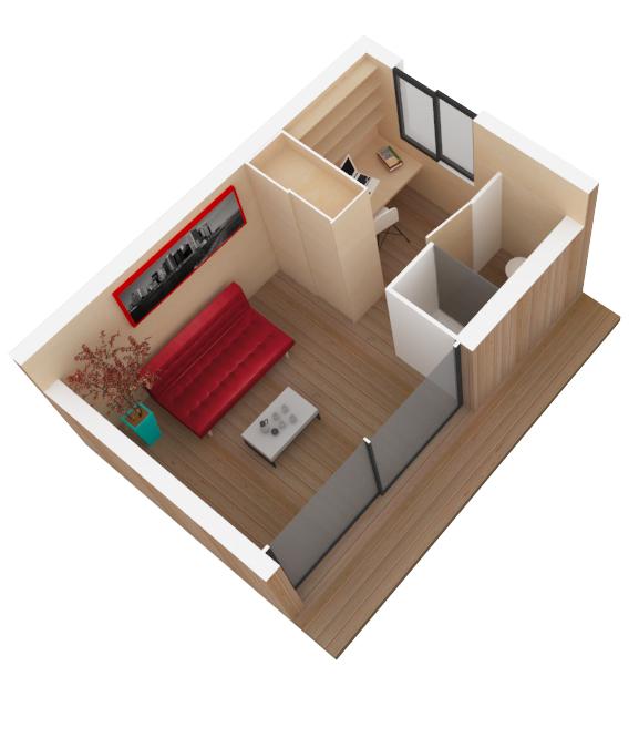 bungalow de jardin pour chambre d 39 tudiant. Black Bedroom Furniture Sets. Home Design Ideas