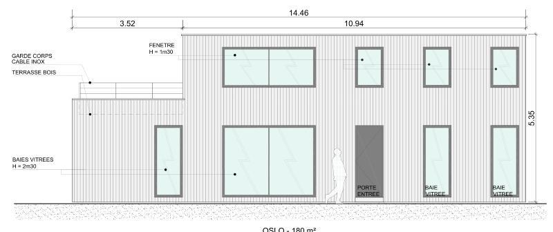 Construction de maison en bois essone for Plan de maison facade